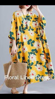 Linen Dresses, Cotton Dresses, Jumpsuit For Kids, Plus Size Sewing, Long Summer Dresses, Yellow Print, Winter Coats Women, Size Clothing, Plus Size Outfits