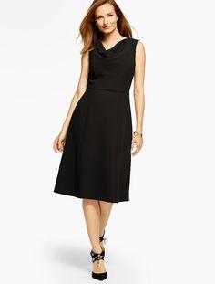 Refined Crepe Drape-Neck Dress - Talbots