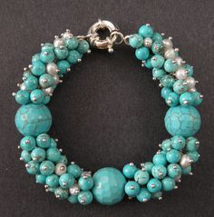 "Handmade Chunky Gemstone Bracelets | Chunky-8"" Faceted TURQUOISE gemstone beads,PEARLS handmade jewelry ..."