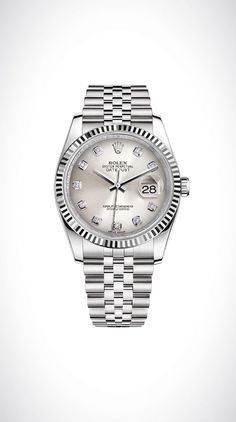 Rolex Datejust 36 in white Rolesor - a combination of 18ct white gold and 904L steel, with a fluted bezel, silver dial set with diamonds, and a Jubilee bracelet.