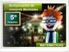 """""""Multiplicación de números decimales"""" (Aplicación interactiva de Matemáticas de Primaria) Decimal, Boys, Fictional Characters, Learning Numbers, Maths Area, Mine Craft Birthday, Teaching Resources, Senior Boys, Sons"""