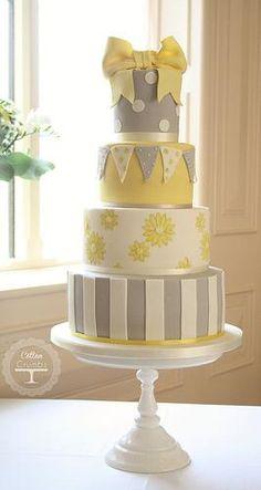 White, Yellow and Gray Baby Shower Cake Gorgeous Cakes, Pretty Cakes, Amazing Cakes, Cupcakes, Cupcake Cakes, Cath Kidston Cake, Super Torte, Bolo Cake, Take The Cake