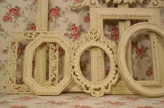 Vintage frames. I am on the hunt for these for my girls French inspired bathroom.