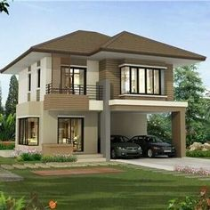 Modern home in Thailand Two Story House Design, 2 Storey House Design, Simple House Design, House Front Design, Minimalist House Design, Modern House Design, Modern Bungalow House, Modern House Plans, Small House Plans