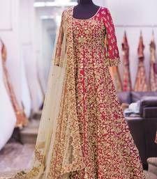 Buy red art silk embroidered semi stitiched salwar with dupatta anarkali-salwar-kameez online