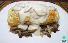 Receta de Pechuga de pollo rellena de jamón y queso en salsa blanca Cravings, Eggs, Meat, Chicken, Breakfast, Recipes, Food, Margarita, Tv