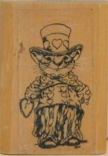WALLACE TRIPP Kidstamps Hearts & Stripes Mouse Wood Block Rubber Stamp NOS
