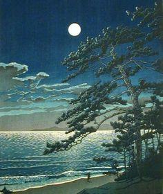 Kawase Hasui (1883-1957): Spring Moon at Ninomiya Beach, 1932