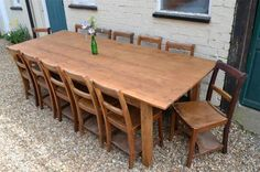 Hand made reclaimed Georgian pine 9ft farmhouse kitchen/dining table. Seats 8-10 | eBay