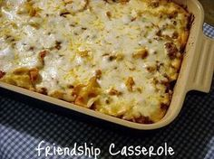 Friendship Casserole..2 - lbs ground beef 1 - 48 oz jar spaghetti sauce 2 – tablespoons sugar 1 (16 oz) - pkg medium egg noodles 1/2 - cup margarine or butter ½ - teaspoon onion salt (or onion powder) ½ - teaspoon garlic salt (or garlic powder) ½ - cup grated Parmesan cheese 1 - 12 oz pkg shredded mozzarella cheese 1/2 - cup each sauteed green pepper, onion & mushrooms, optional. LOVE THIS RECIPE!