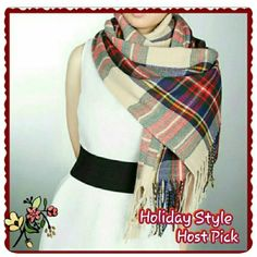 **HP** Large Plaid tartan scarf / wrap New with tag.  Beautiful beige scarf with colors of red, green and blue. Very soft and cozy. Thus us a nice, big scarf. Accessories Scarves & Wraps