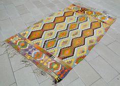 Turkish Rug 53 x 82 Hand Woven Classic Antalya Kilim 64 x 98 Picnic Blanket, Outdoor Blanket, Turkish Kilim Rugs, Antalya, 5 S, Carpets, Bohemian Rug, Hand Weaving, Classic