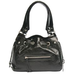 Neiman Marcus Shopper Weekender Purse Black Pewter Faux Leather Tote