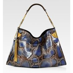 Gucci Gucci 1970 Periwinkle Python Shoulder Bag ($3,590) ❤ liked on Polyvore