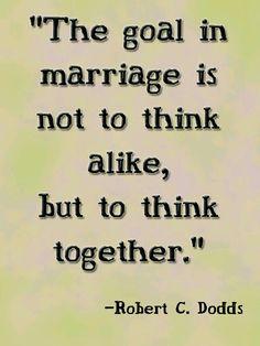 El matrimonio no es para pensar igual, sino pensar juntos