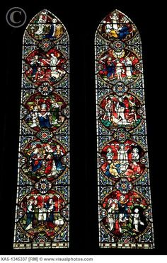 England, Wiltshire, Salisbury Cathedral - Stained Glass Windows.