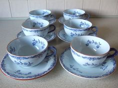 Rorstrand Sweden Ostindia East Indies Tea /Coffee Set.Large Cups.
