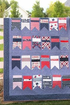 Red, White, and Blue Summer Bunting Quilt pattern by Amy Smart Scrappy Quilts, Easy Quilts, Quilting, American Flag Quilt, Bunting Pattern, Quilt Of Valor, Patriotic Quilts, Bunting Flags, Modern Quilt Patterns