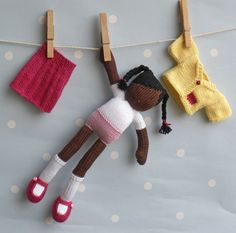 Kora hand knitted doll traditionally inspired and by BooBiloo
