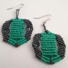 Boho Hippie Micro Macrame Hemp Earrings Cavandoli Knotwork in Green Tones $25.00
