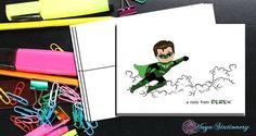 Green lantern comic book   Thank You Cards / comic book stationery / Superhero Stationery Set / personalized Boy thank you cards / Set of 12 by YuyaStationery on Etsy