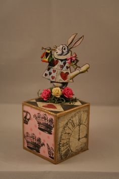Alice in Wonderland White Rabbit Block by MyEclecticWonderland, $10.95