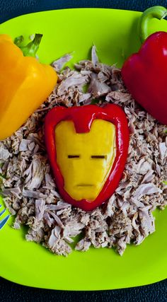 Iron Man from bell peppers and tuna - He sure does loves his tuna! Make a tuna dish even Iron Man would be proud of!