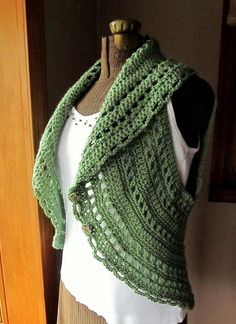 chaleco verde hecho a croche