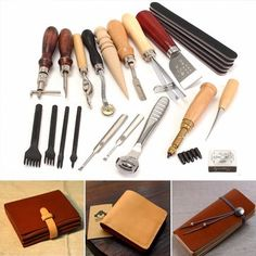 20 Pcs/Set Leather Craft Punch Tool Kit Stitching Carving Working Sewing Saddle Groover