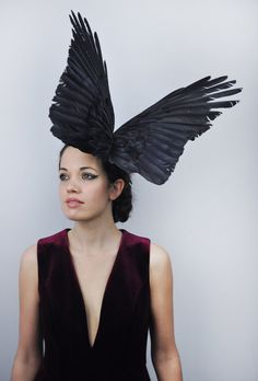 Bird Wing Feather Fascinator in Large Dramatic Black Crow Wings