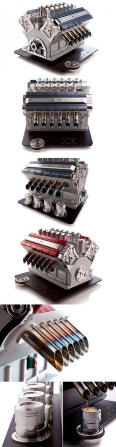 Here's an engine coffee machine. Coffee Snobs, Coffee Club, Espresso Coffee, Coffee Maker, Coffee Coffee, Cappuccino Machine, Espresso Machine, Coffee Design, Great Coffee