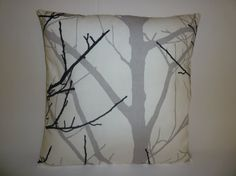 (UK) 3 Black Gray Plllows Funky Retro White Tree by WickedWalls on Etsy