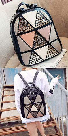Unique Girl's PU Splicing Leisure Rivet School Backpack Triangles Sequins Backpacks for big sale! #school #triangles #sequins #school #backpack #bag #rucksack #college #student #travel