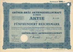 Fürth Grüner-Bräu Aktie 500 RM 1926