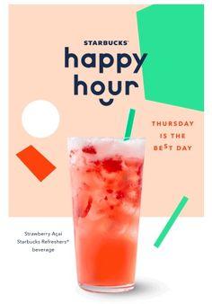Today Only: Grande Teavana Shaken Iced Tea Infusion or Refreshers at Starbucks f food poster Food Graphic Design, Food Poster Design, Graphisches Design, Menu Design, Strawberry Acai, Menu Flyer, Starbucks Refreshers, Drinking Quotes, Drink Menu