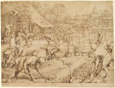 Pieter Bruegel the Elder Spring 1565 Pen and brown ink, framing lines in gray, transfer lines Albertina, Vienna Pieter Bruegel The Elder, Google Art Project, Etching Prints, Dutch Golden Age, Hieronymus Bosch, Dutch Artists, Old Master, Renaissance Art, Religious Art