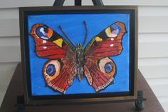 """Butterfly LEATHER COLLAGE on 10x8"""" Canvas, FRAMED, Art, 3D Art, Signed Original Art, Painting, Collage, Wall Art, Home Decor, Unique Gift by LindasLeatherStore on Etsy"""
