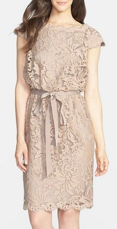 Tadashi Shoji Lace Blouson Dress (Regular Petite) available at avlbl at valley fair, stone ridge, SF, Stonestown Lovely Dresses, Trendy Dresses, Simple Dresses, Casual Dresses, Summer Dresses, Dress Outfits, Fashion Dresses, Dress Brokat, Kebaya Dress