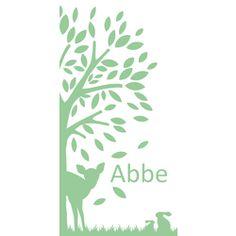 Letterpress stijl geboortekaartje hertje boom Abbe