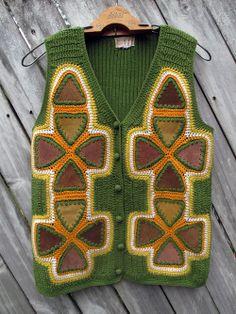 Vintage crochet leather patchwork vest