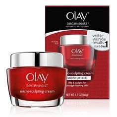 Olay Regenerist Micro-Sculpting Cream is an anti-aging moisturizer that hydrates skin