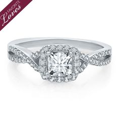 Helzberg Diamond Masterpiece® 3/4 ct. tw. Mondrian Diamond® Engagement Ring in 18K Gold