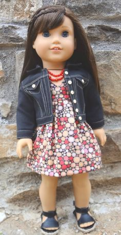 American Girl sleeveless lined Dress with black denim jean Jacket, 2 Necklaces, and Sandals by GumbieCatDollClothes  $30.00