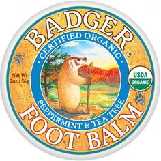 Foot Balm Badger Balm. I love using right after I shower, great for callused feet