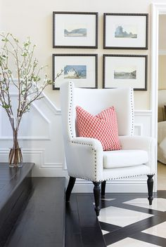 Anaheim Hills - contemporary - entry - orange county - Blackband Design-- detail makes the space. millwork trim, chair legs, nailheads etc. I love this chair. Interior Exterior, Home Interior Design, Design Interiors, White Leather Chair, Relax, Diy Décoration, Home And Deco, Wingback Chair, Armchair