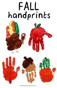 Fall Handprint Art - cute turkey, apple, leaf, acorn and pumpkin! Hand Crafts For Kids, Daycare Crafts, Halloween Crafts For Kids, Art For Kids, Classroom Crafts, Fall Arts And Crafts, Easy Fall Crafts, Thanksgiving Crafts, Turkey Handprint