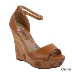 DBDK 'Ratri-2' Women Floral Print Ankle Strappy Open Toe Cork Wedge Sandals | Overstock.com Shopping - The Best Deals on Sandals 37euro