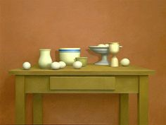 """""""Still Life With Rose Wall and Compote,"""" William Bailey, 1973, oil on canvas, 40 X 48 1/8"""", Hirshhorn Museum and Sculpture Garden."""