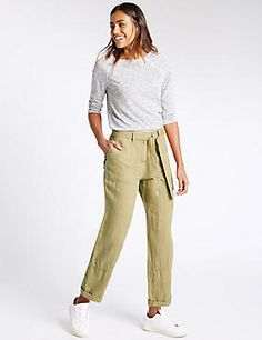 Pure Linen Straight Leg Trousers, M&S, The Mall Luton