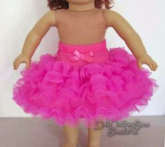 Hot Pink Tutu Can-Can Dance Skirt for 18  American Girl Doll Clothes